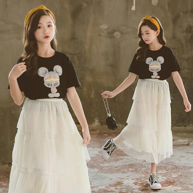 女童紗裙兩件套2021夏季新款洋氣親子裝裙套裝兒童百搭蓬蓬半身裙
