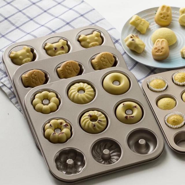 9連不粘 卡通小熊 小兔 貓爪蛋糕模具 不粘烘焙模具 蛋糕烤盤