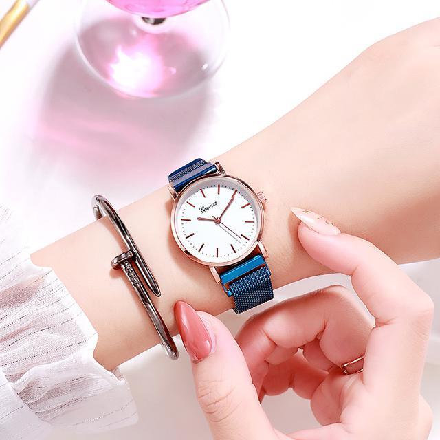 【2020新款韓版潮流時尚男表女錶簡約抖音同款 吸鐵石 尼龍 手錶學生錶】