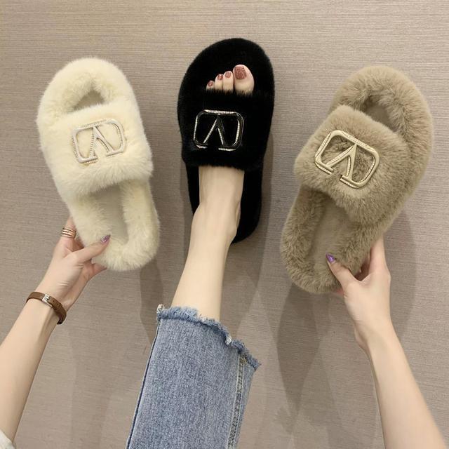 預購-時尚外穿毛毛鞋百搭韓版棉拖鞋(卡)