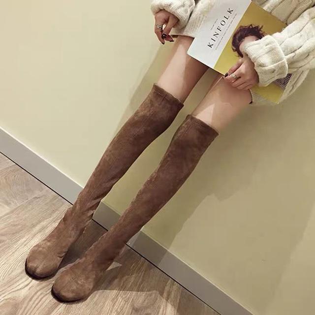 韓版秋冬時尚百搭過膝超顯瘦長筒靴 靴子