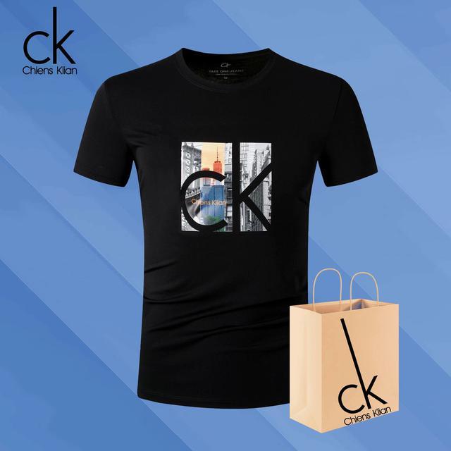 CK3美國城市印花棉圓領潮流休閒男士個性短袖t恤衫
