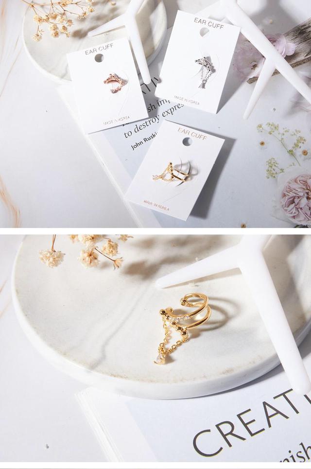 鍊飾雙層耳骨環-玫瑰金1個 正韓空運