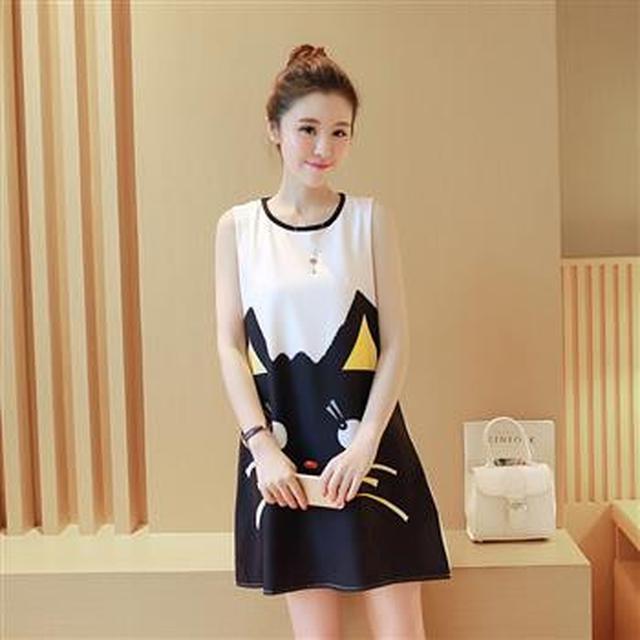 F50535 大碼裝印花短袖連衣裙(兩色)