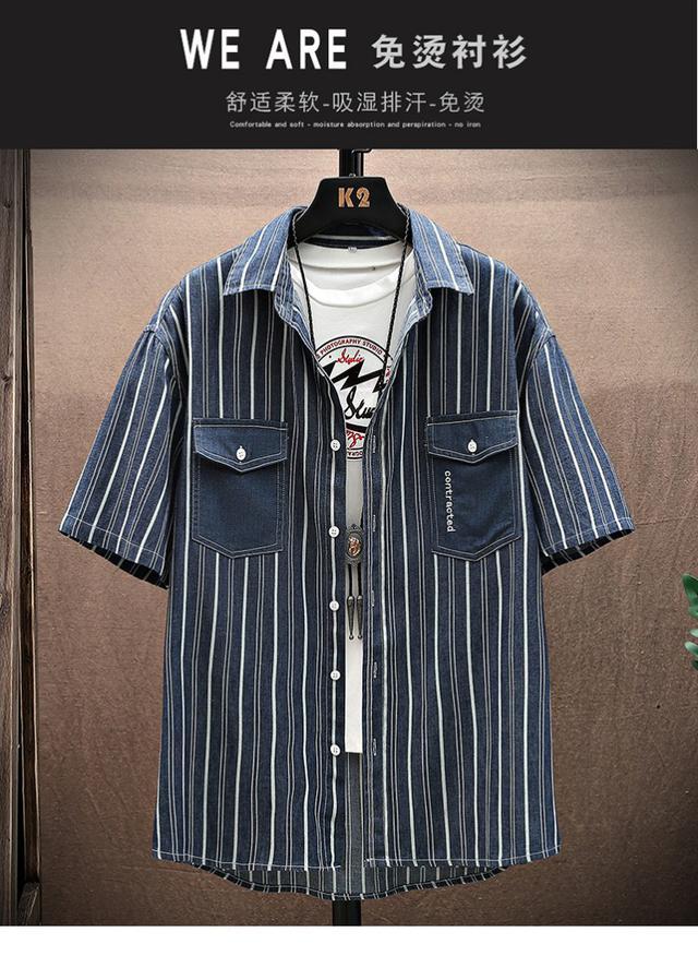 33101  復古翻領條紋襯衫