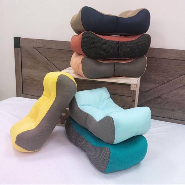 台灣製造3D立體蜂巢透氣網布腰靠枕花色隨機