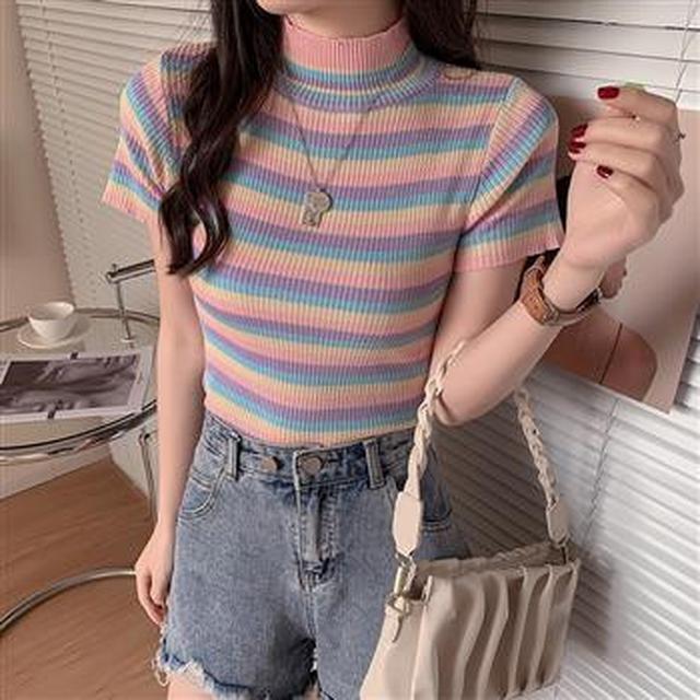 F60395 時尚修身條紋針織衫(單色)