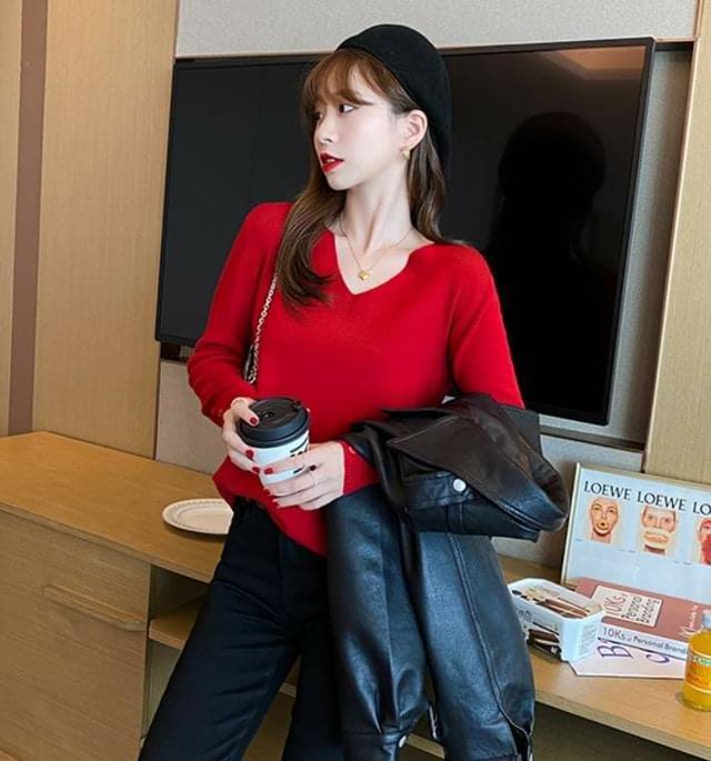 韓版V領柔織羊絨針織衫 (7色)