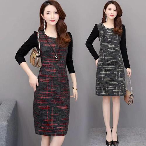 11 流行款 L-4XL 韓版 大碼印花連衣裙(2色)