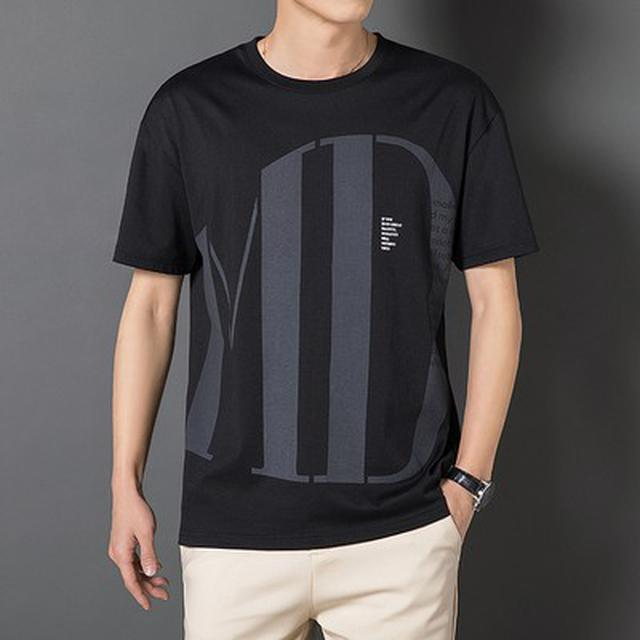 S-3XL) 優質字母數位植絨印花短袖T恤(3色)