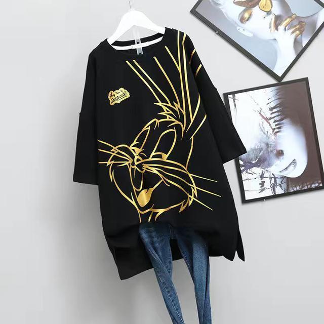 燙金卡通兔子短袖T恤女夏季大碼寬松中長款上衣