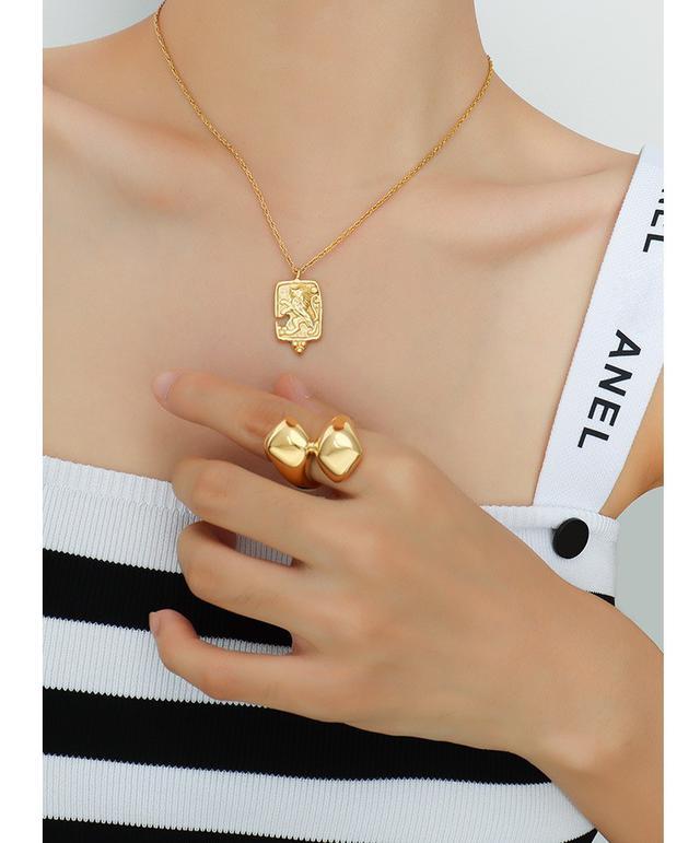 歐美IG風個性誇張鑄造戒指別樣設計鈦鋼鍍18真金女指環飾品