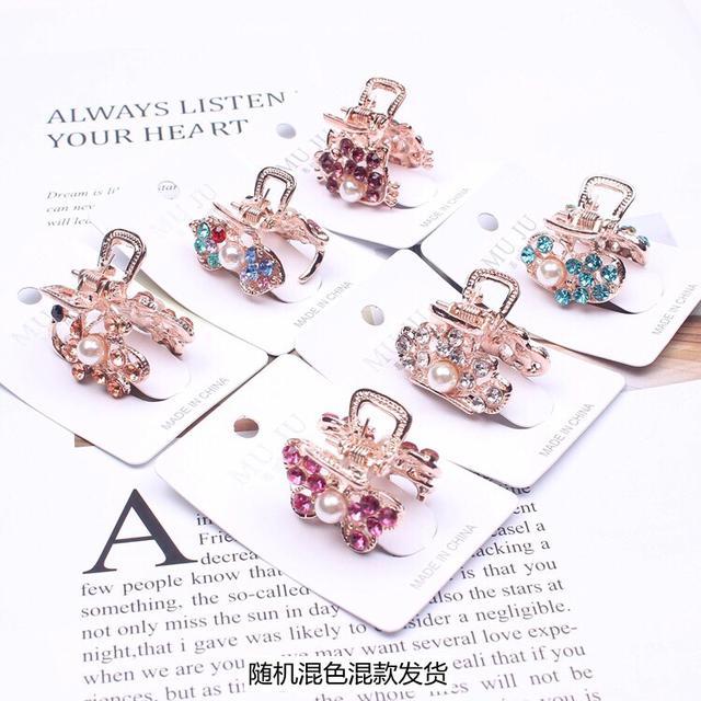 190826034韓版發飾 獨立卡裝水晶小抓夾時尚合金發夾