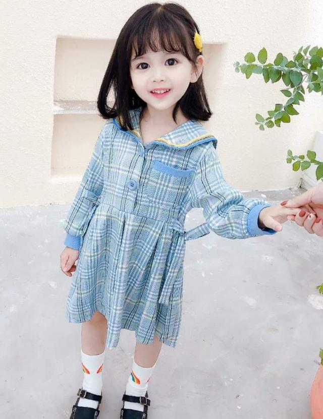 【預購】甜美風海軍領格子洋裝