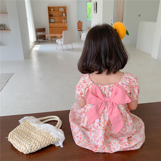 韓國童裝批發2021夏款女童蝴蝶結連衣裙正反兩穿寶寶公主裙