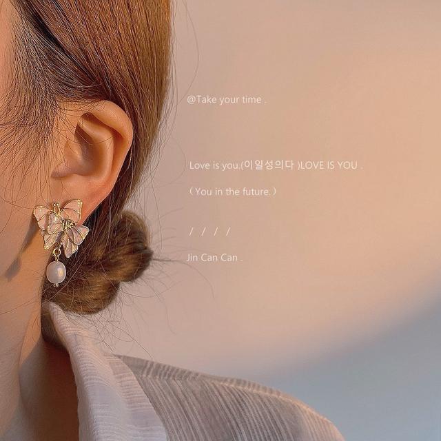 [仲夏夜之夢]s925銀針紫色夢幻蝴蝶復古耳環溫柔淡水珍珠氣質耳釘