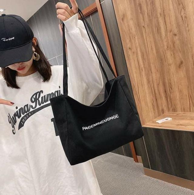 韓系簡純字母大容量帆布包 (5色)