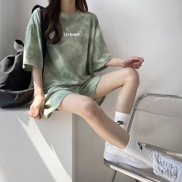 ✪100%純棉短袖女休閒兩件套