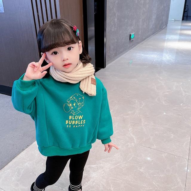 兒童衛衣2021秋冬新款韓版女寶寶打底衫中小童洋氣加絨春秋款女童