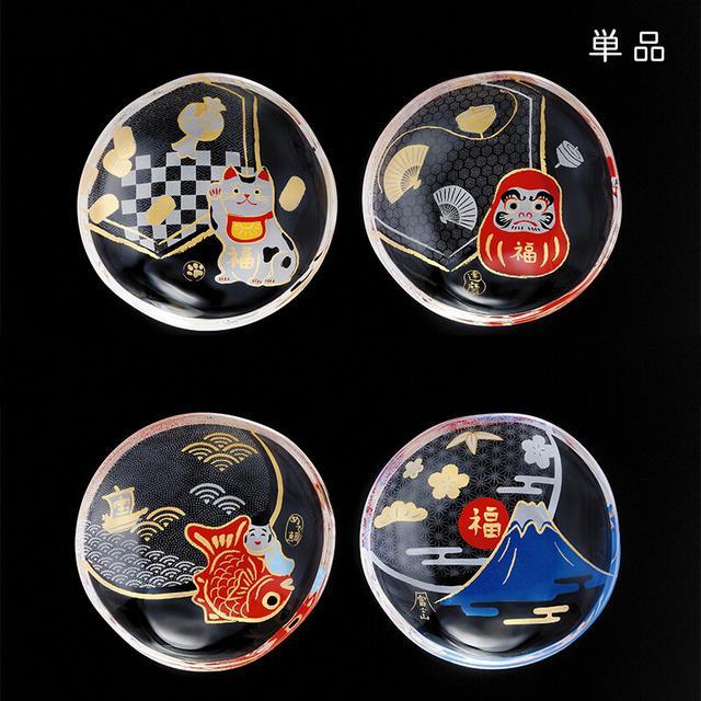 日本製 吉祥招福系列 玻璃小盤