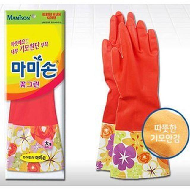 韓國 Mamison 100%天然橡膠 磨毛植絨 洗碗手套 (42cm)