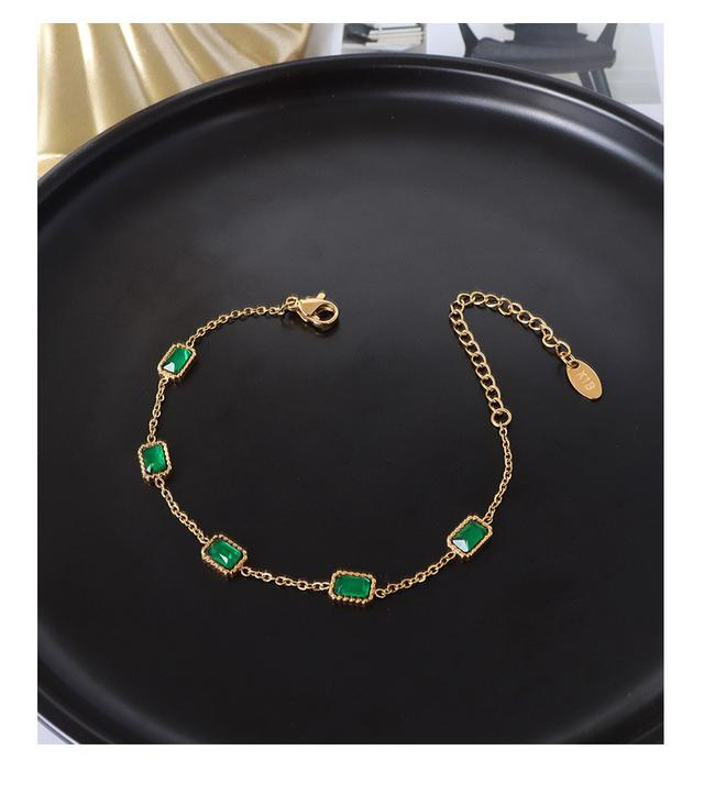 中國風IG潮款小眾設計感金色方塊鑲嵌祖母綠鋯石鈦鋼18K手鏈鏈條