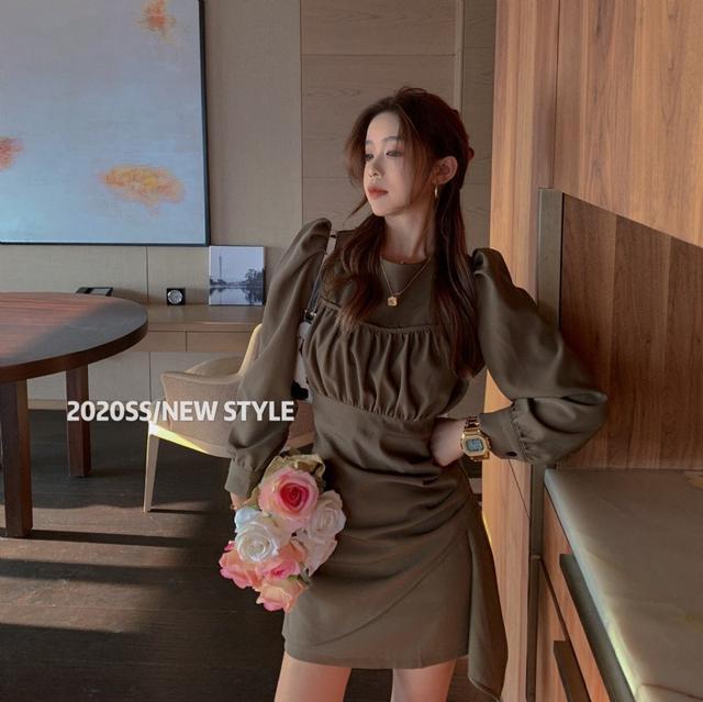 S✿優質歐韓女裝 SB8680韓國時尚 設計感不規則收腰連衣裙(2色)