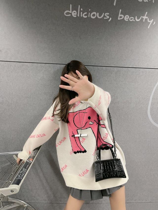粉色小香毛衣