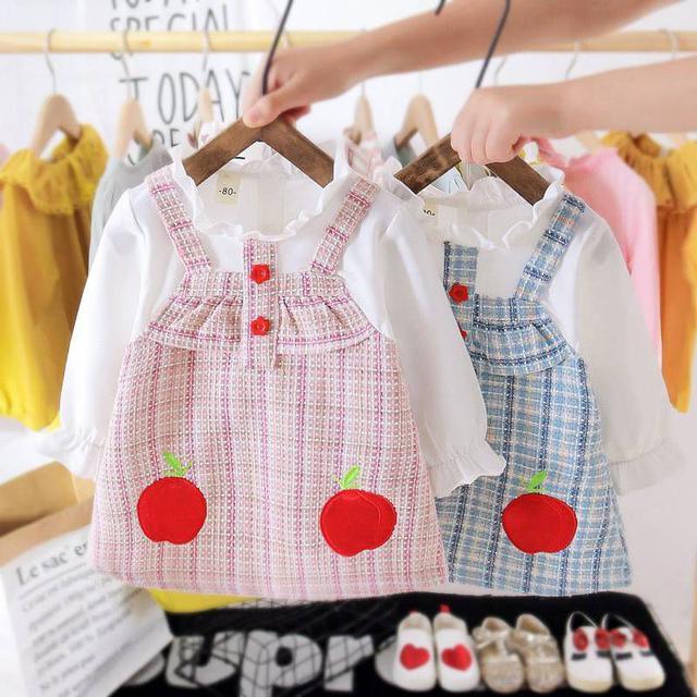 『秋冬-預購』小香風蘋果假兩件洋裝