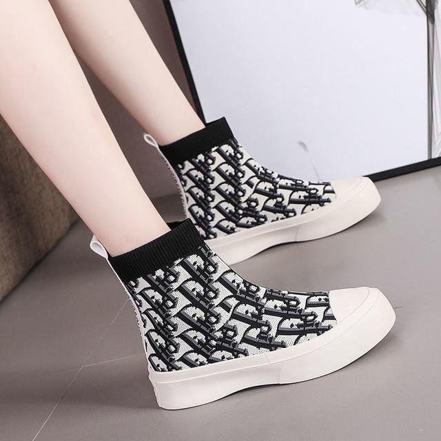 馬丁靴女2020年秋季新款高幫飛織鞋女小短靴女潮休閒百搭字母女鞋