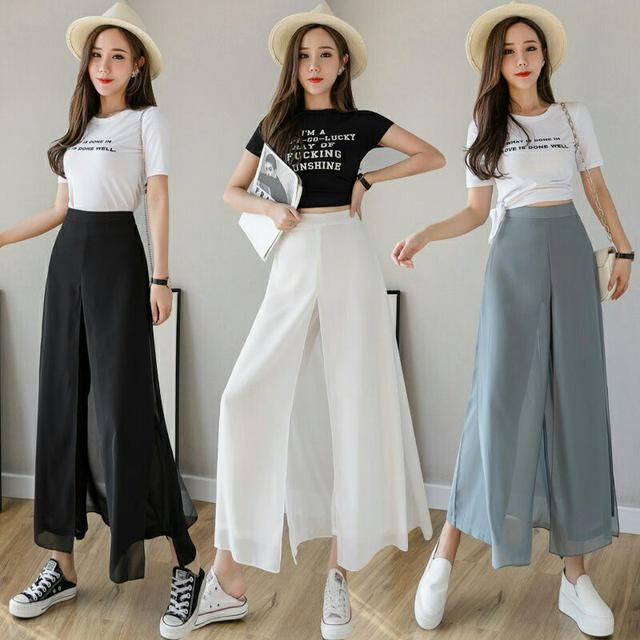 預購6-9到貨夏季新款垂感雪紡假兩件褲裙