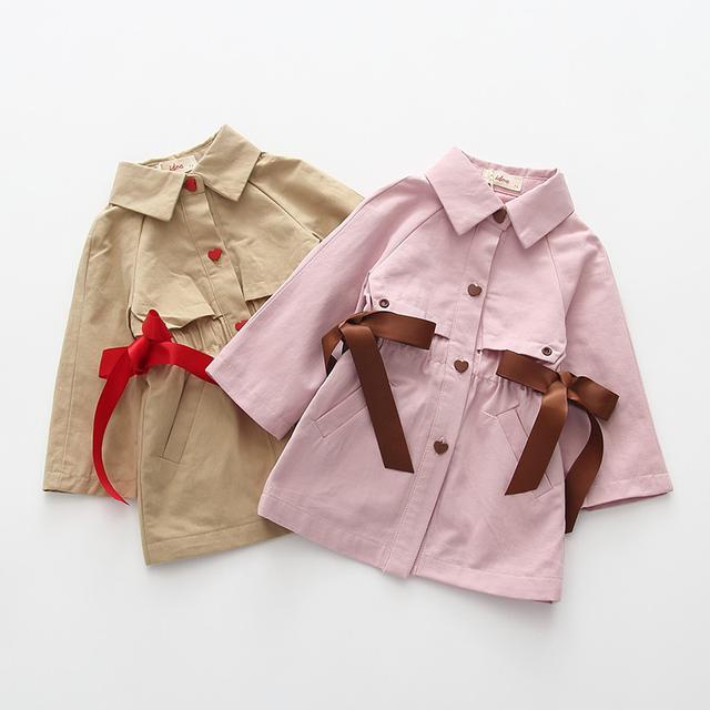 9001韓版嬰幼兒寶寶外套潮女童中長款風衣收腰棉(I)