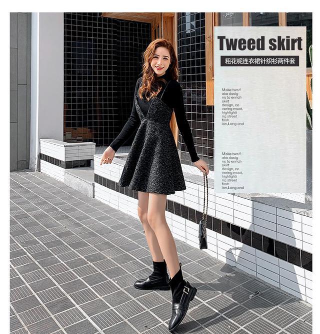 11 S-XL 網紅針織衫+粗花呢連衣裙兩件套
