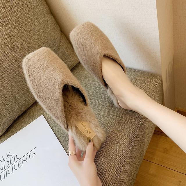 預購-時尚外穿毛毛鞋百搭韓版学生包頭棉拖鞋(卡)