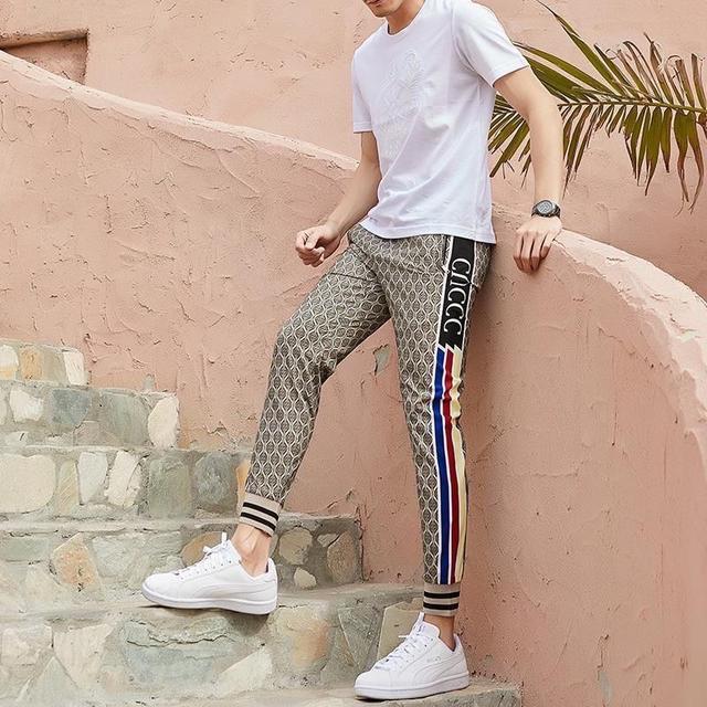 2020印花冰絲褲子男夏季男士休閒褲寬松大碼束腳速乾運動褲薄款潮