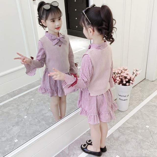 背心格子連身裙兩件套