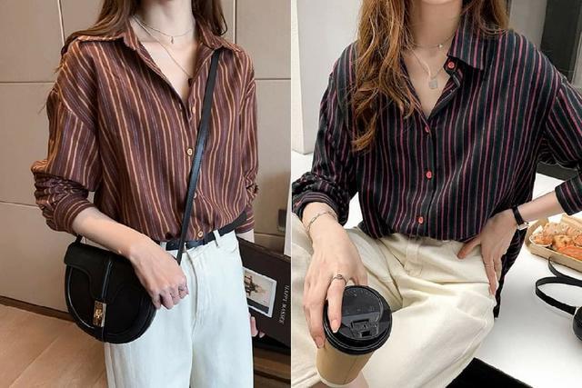 韓版寬鬆顯瘦條紋衫