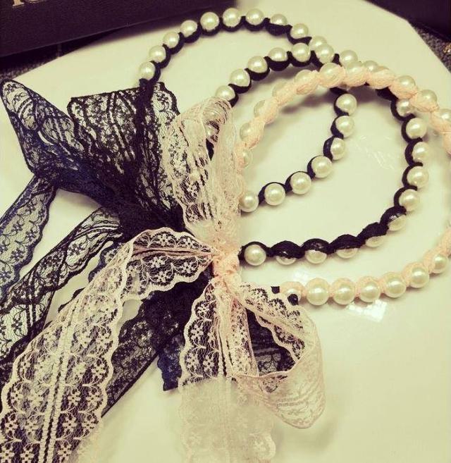 🌈[韓國珍珠纏繞蕾絲飄逸髮帶髮箍1組3個]