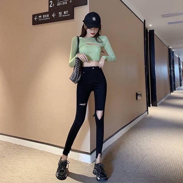 🔹韓版 高腰 顯瘦 黑色 破洞 牛仔褲 九分褲