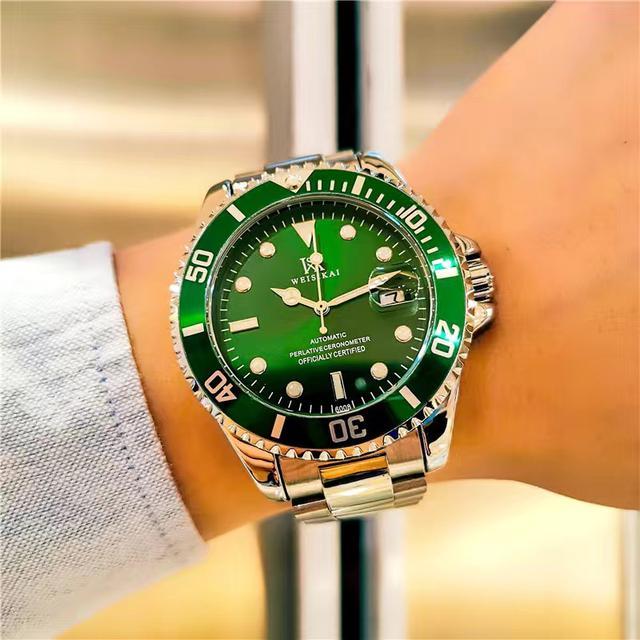 威斯凱正品綠水鬼手錶男士全自動機械表商務鋼帶防水夜光男表
