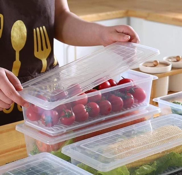 (預購S) G1023 - 冰箱解凍瀝水長型保鮮盒