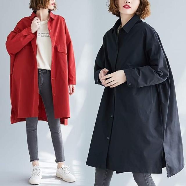 秋冬一件兩穿純色中長版襯衫外套