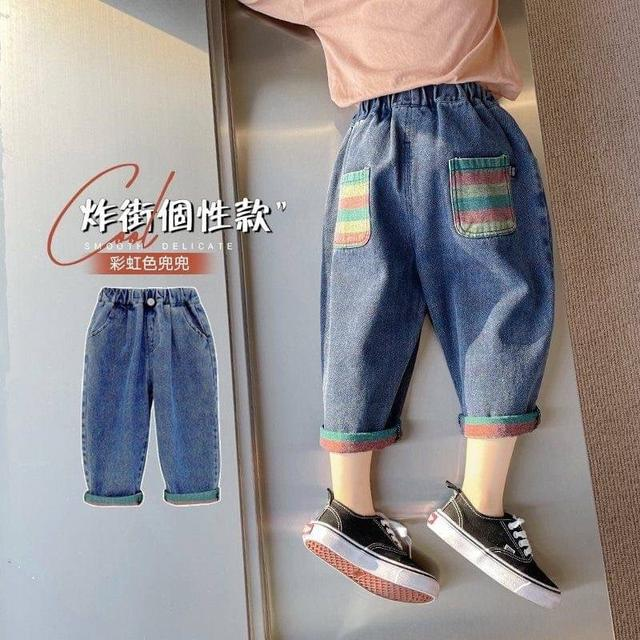 🔹秋裝新款撞色直筒牛仔褲