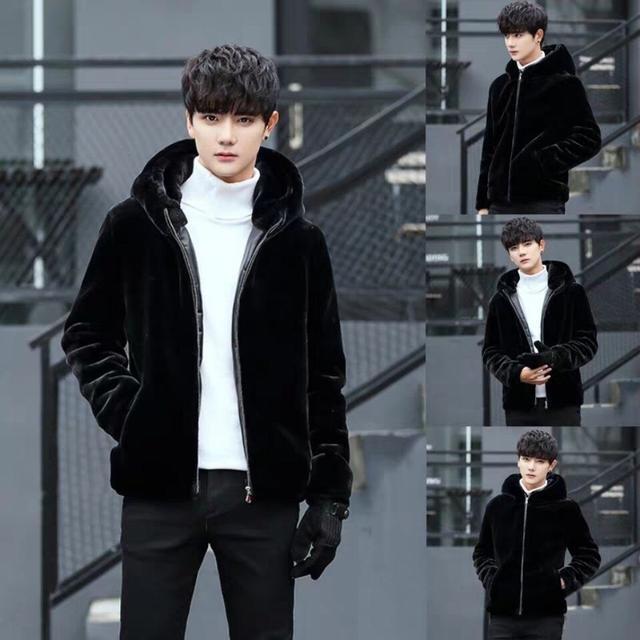 冬季新款男士仿皮草水貂皮貂絨休閒連帽外套獺仿兔毛加厚貂皮大衣