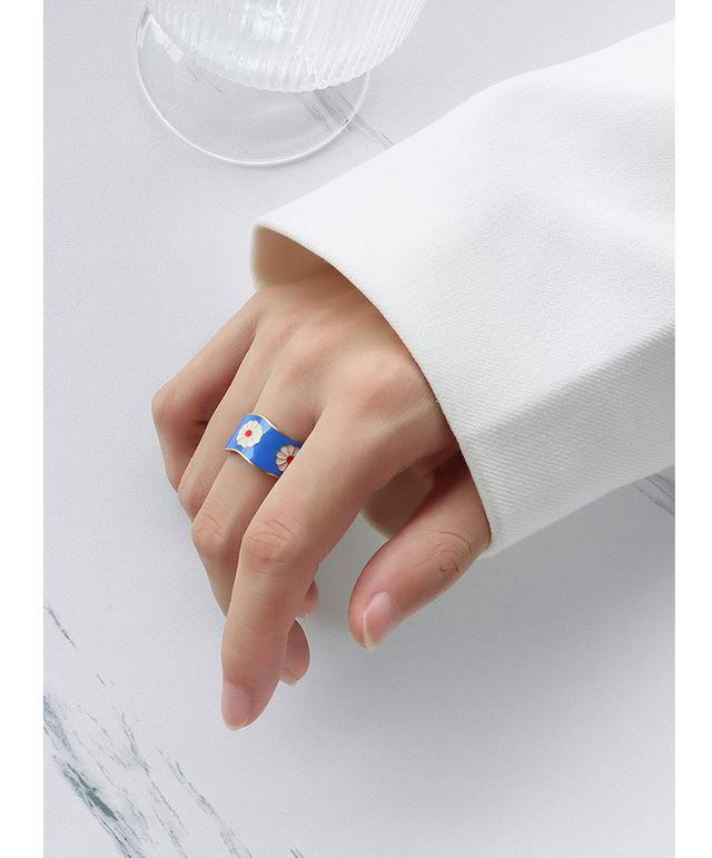 中國風網紅潮款流行小雛菊設計金紅藍色彩組合指戒食指戒鈦鋼18K