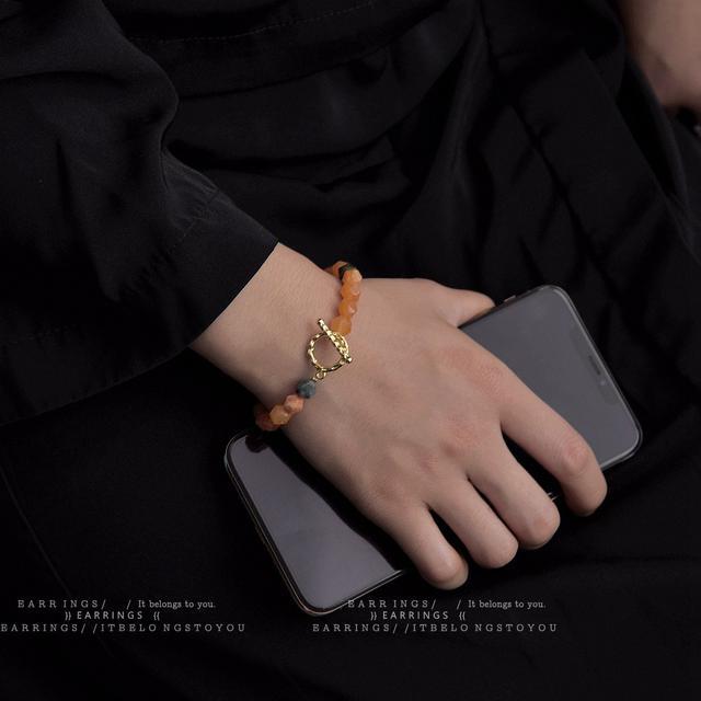 天然石 啊啊南瓜多寶/太好看了水晶OT扣手鍊甜美小清新減齡手鍊