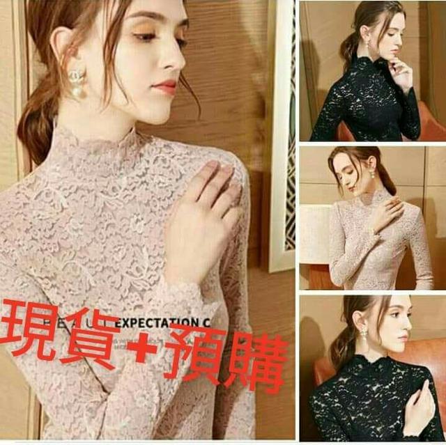 $225 (現貨+預購) 02 均碼 歐韓時尚 半高領波浪邊鏤空蕾絲衫