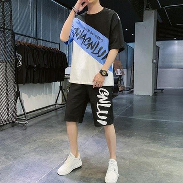 M-3XL 潮牌T恤+短褲 運動套裝(2色)
