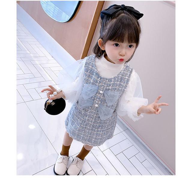 馬甲+打底衫女童秋裝小香風連衣裙2020新款網紅套裝女寶寶泡泡袖短裙子