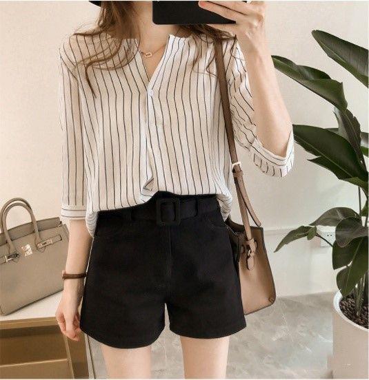 韓版條紋七分袖寬鬆衣